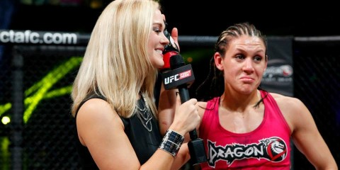 Laura Sanko (L) speaks with DeAnna Bennett at Invicta FC 11 (Invicta FC)