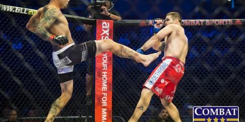 Anthony Smith (L) battles Brock Jardine (Marshall Boyce/Combat Press)