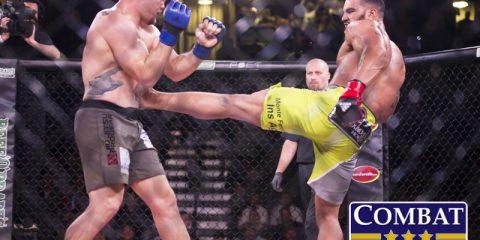 Devin Clark (R) kicks Rafael Viana (Marshall Boyce/Combat Press)